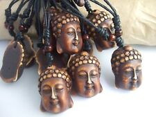 12pcs Resin Thai Buddha Head Pendant Wax Cotton Cord Necklace Adjustable