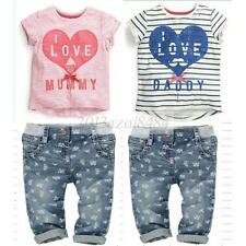 2PCS Toddler Baby Kids Girl Boy T-shirt+Shorts Outfits Heart Pattern Tops 0-5Y