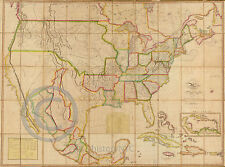 1820 HUGE HISTORICAL WALL MAP US AMERICA BRITISH SPANISH CLAIMS Largest Size