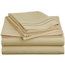 LUXURIOUS 2 LINE EMBROIDERED 4 PC BED SHEET SET, KING QUEEN TWIN FULL, GOLD