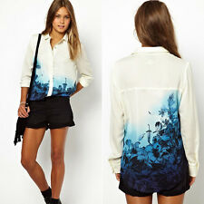2014 Europe Style Women Flower Chiffon Long Sleeve Blouse T Shirt Tops