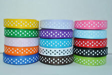 "3/8"" grosgrain ribbon swiss dot or polka dot ribbon  5 yards you pick color"
