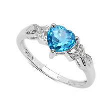 9CT WHITE GOLD 1.00CT HEART SHAPED BLUE TOPAZ & DIAMOND ENGAGEMENT RING