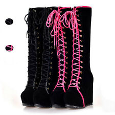 Women's girls Goth Roman Super Platform Wedge Heels Lace Up Knee High Boots P122