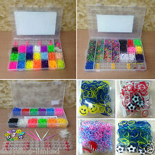 2400/4000/4400 Large Box Colourful Rainbow Rubber Loom Bands Making Kit S-Clips