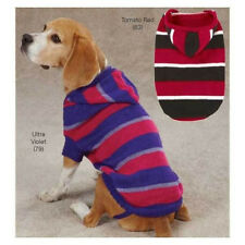 Zack & Zoey HOODED Striped Knit Dog Sweater Tomato Red or Ultra Violet Misc Size