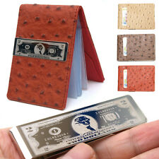 Men's Dollar Mark Metal Moneyclip 12 Credit Card Holders Wallet-Ostrich Style