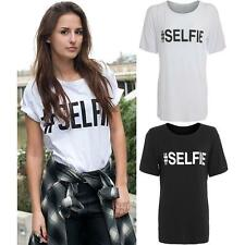 New Womens #Selfie Text Slogan Print Ladies Sleeveless Vest T-Shirt Top 8-14