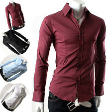 Tops Designed Men's Classic Casual Slim Fit Button Business Formal Dress Shirts
