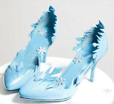 2014 New free Ice and snow cos Elsa queen blue Ladies shoes Snowflake Plus Size