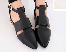 2014 Japanese Style Ladies flat Heel pointed toe Ankle strap hollow out shoes
