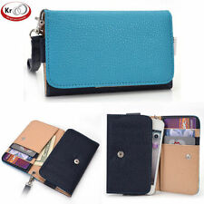 Kroo Two Tone Clutch Wristlet Wallet With Pouch for Smartphone up to 4 Inch