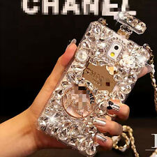 Color Diamond Crystal Perfume Bottle Chain Hard Case Cover For iPhone/ Samsung