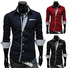 Luxury Mens Stylish Slim Fit Long Sleeve Dress Shirts Casual Tops 4 Color 4 Size