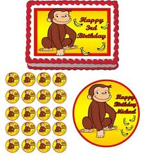 CURIOUS GEORGE Edible Cake Topper Cupcake Image Decoration Birthday