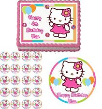 HELLO KITTY FLOWER  Edible Cake Topper Cupcake Image Decoration Birthday Party