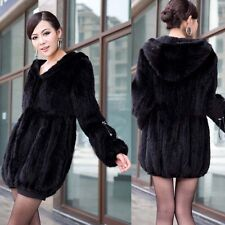 New 100% Real Knitted Mink Fur Long  Women's Coat Outwear Jacket Hoody Vintage