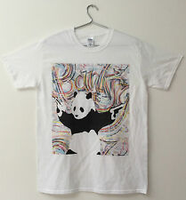 Banksy T-shirt -Panda Bear With Guns By Banksy With Graffiti-Mens White T-Shirt