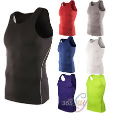 Mens Under Shirt Tops Skin Body Armour Compression Wear Base Layer Tank Top Vest