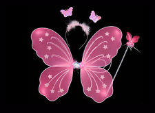 3Pc Set Fairy Princess Butterfly Party Costume Wings Wand Headband