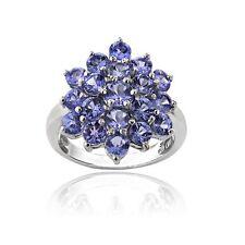 925 Silver 2.5ct TGW Tanzanite Flower Ring