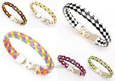 Hot Fashion Girl Colorful Leather Braided Friendship Bracelet Bangle For Gift