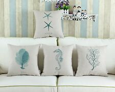 "Cushion Cover Pillows Shell Sea Theme Teal Seahorse Starfish Coral 18"" X 18"""