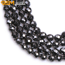 """A Grade Round Faceted Black Magnetic Hematite Beads Gemstone Strand 15"""" 3mm-12mm"""