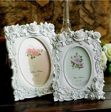 Retro White Rose Flower Home Decor Photo Frame Picture Frame Resin 6'' 7''