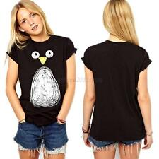 Cute Women/Girl Penguin Print Short Sleeves T-shirt Tops Cotton Blouse Shirt