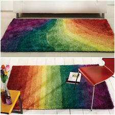 Rio Fizz Quality Shaggy Modern Rainbow 3 Different Sizes Rug