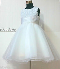 U W810 Whites Communion Chistening Flower Girls Dresses SIZE 1-2-3-4-5-6-7-8-10T