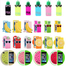 3D Furits Pineapple Strawberry Lemon Watermelon Silicone Case for iPhone 6 5S 4G