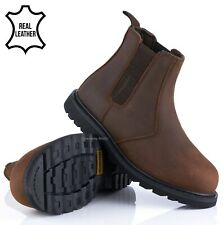 MENS BROWN LEATHER SAFETY WELTED DEALER WORK BOOTS STEEL TOE CAP CHELSEA SHOES