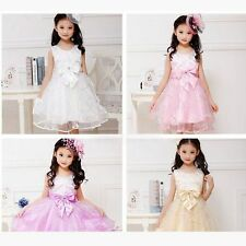 Kids Flower Girls Wedding Bridesmaid Pageant Tulle Bowknot Formal Dress 18M-6Y
