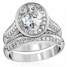 WOMEN'S STAINLESS STEEL OVAL HALO CZ ENGAGEMENT WEDDING 2 PC PAVE RING BAND SET