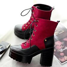 Womens Platform High Heel Block Roma Rivet Punk Chunky Ankle Boots Shoes Plus Sz