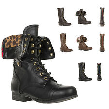 New Women's Adjustable Foldable Mid Calf Lace Up Military Boot SURPRISE-01