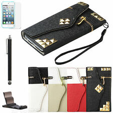 For iPod Touch 5th Gen 5G 5 Wallet PU Leather Hard Cover Case Card Pouch +Film