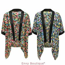 WOMENS LADIES VINTAGE FLORAL PRINT TOP KIMONO CAPE OPEN CARDIGAN BLAZER JACKET