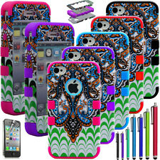 Hybrid Rugged Rubber Matte Temple Hard Case Cover For iPhone 4 4S w/Screen Guard