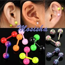 2X Stainless Steel Barbell Tragus Ear Cartilage Earrings Piercing Candy Colors