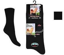 Mens Cotton Rich BLACK EVERYDAY Socks LYCRA PURISTA Size UK 6-11 (6 OR 12 PAIRS)