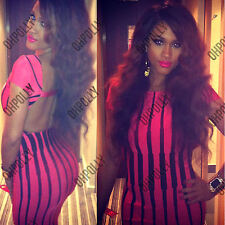 Womens Slimming Optical Illusion Ladies Summer Striped Backless UK Bodycon Dress