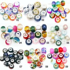 10pc European Loose Glass Crystal Pearl Spacer Beads Charms For Diy