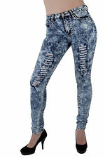 6316 – VIP Jeans – Super High Rise, Ripped Acid Wash Stretch Skinny Jeans