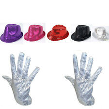 Men Lady Michael Jackson Silver Sequin Glove +Capone Party Club Fedora Dance Hat