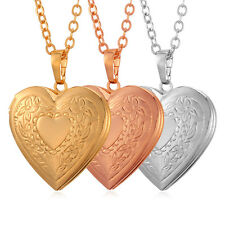 Love Heart Pendant Necklace Photo Picture Locket Gold Plated Living Memory Gift