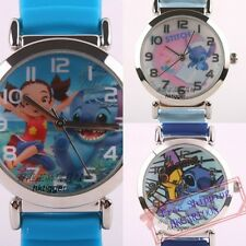 GENUINE DISNEY STITCH & YUNA 3D GRAPH SOFT SILICONE BAND CHILD WATCH LS-3K1119P