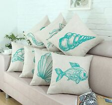 "Euphoria Cushion Covers Pillows Shell Teal Orange Sea Life Animals 18"" X 18"""